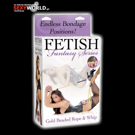 Fetish Fantasy Gold Beaded Rope and Whip