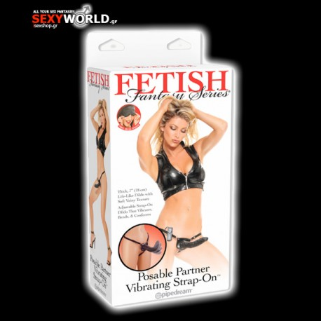 Fetish fantasy Vibrating Posable Partner Strap-On Black
