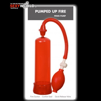 Pumped Up Fire Penis Pump Red