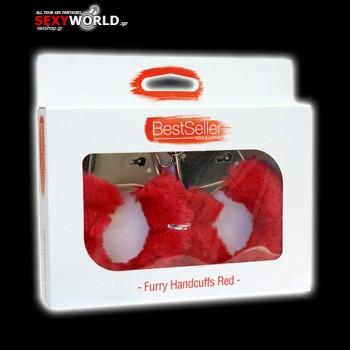 Furry Handcuffs Bestseller Red