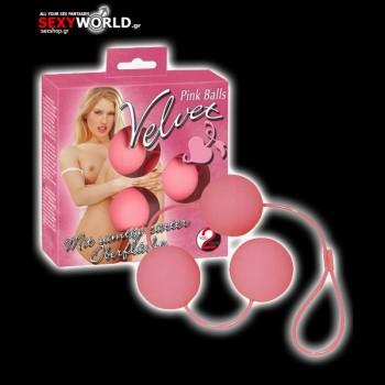 3 Velvet Red Balls Pink