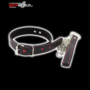 Black Fetish Collar with Leash