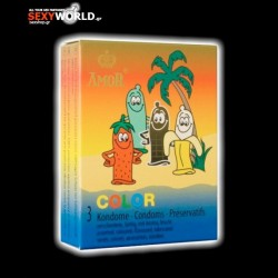 Amor Coloured Flavoured Condoms 3 Pack